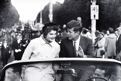 Sen. John F. Kennedy campaigns with his wife in Boston