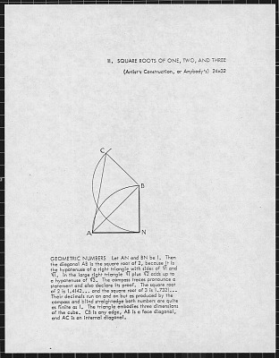 Documentation Relating to Crockett Johnson's Painting Square Roots of One, Two and Three