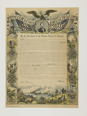 Commemorative Print of the Emancipation Proclamation, 1864