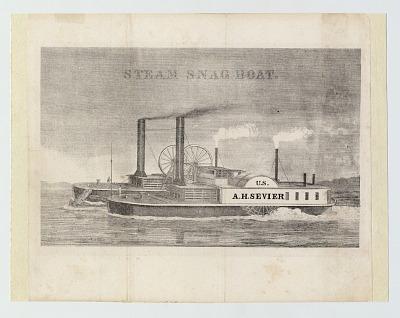 Engraving Of Steam Snag Boat <I>A. H. Sevier</I>