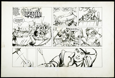 Camera-ready comic art drawing for <i>Kevin the Bold</i>