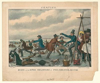 Skating. Scene on the River Delaware at Philadelphia