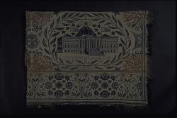 """Capitol"" coverlet fragment; Jacquard, double cloth; 1846; poss. Ohio"