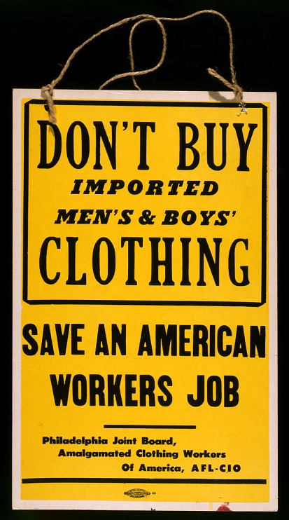 Placard (Don't buy imported clothing)