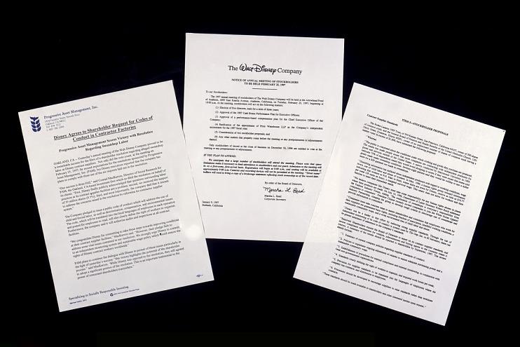 Disney shareholder resolution, September 12, 1996