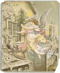 """""""A Merry Christmas"""". An angel with an unadorned tree flying toward an upper story window, color"""