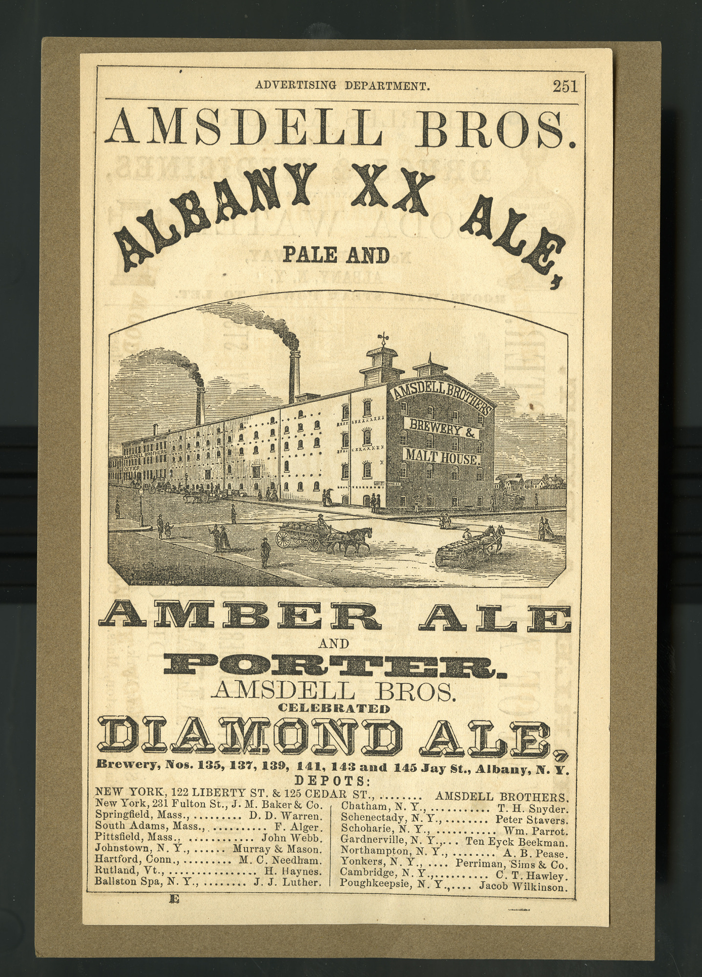 images for Albany XX Ale, / Pale and / Amber Ale and Porter. / Amsdell Bros.' Celebrated / Diamond and Burton Ale. advertisement