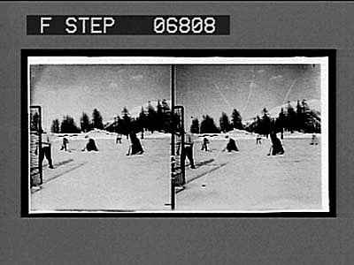 """images for Playing """"bandy"""" or hockey on a field of ice, in the Engadine. 15163 interpositive"""