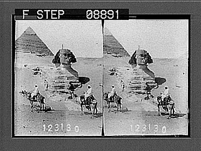 images for Riders on camels with Sphinx and pyramid. Active no. 953 : stereo photonegative