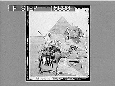 images for The Great Sphinx and Pyramid of Chefren, Egypt. Copyright 1896 by Underwood & Underwood. on negative Active no. 22139 : half-stereo photonegative, 1896