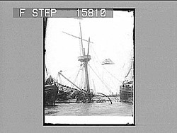 """----- from port side--Old Glory still flying--"" Havana. [on negative.] [Active no. 22521 : half-stereo photonegative.]"