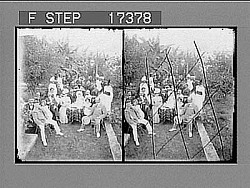 [Portrait of large group of families in garden.] 29252 photonegative
