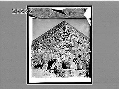images for Looking up the N.E. corner of the Great Pyramid where tourists ascend. (Look upwards.) 2536 Interpositive 1908
