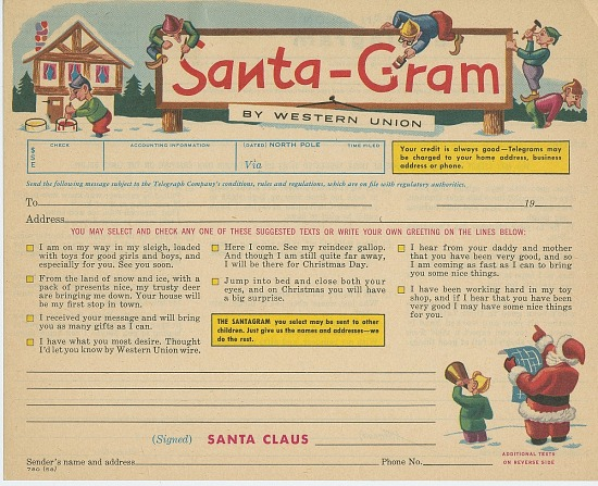 Santa Gram By Western Union Blank Form Smithsonian Institution
