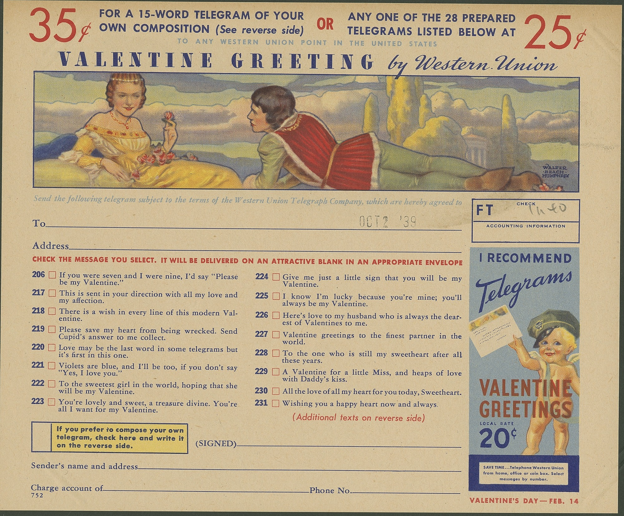 images for Illustrated Valentine greeting by Western Union, blank form,