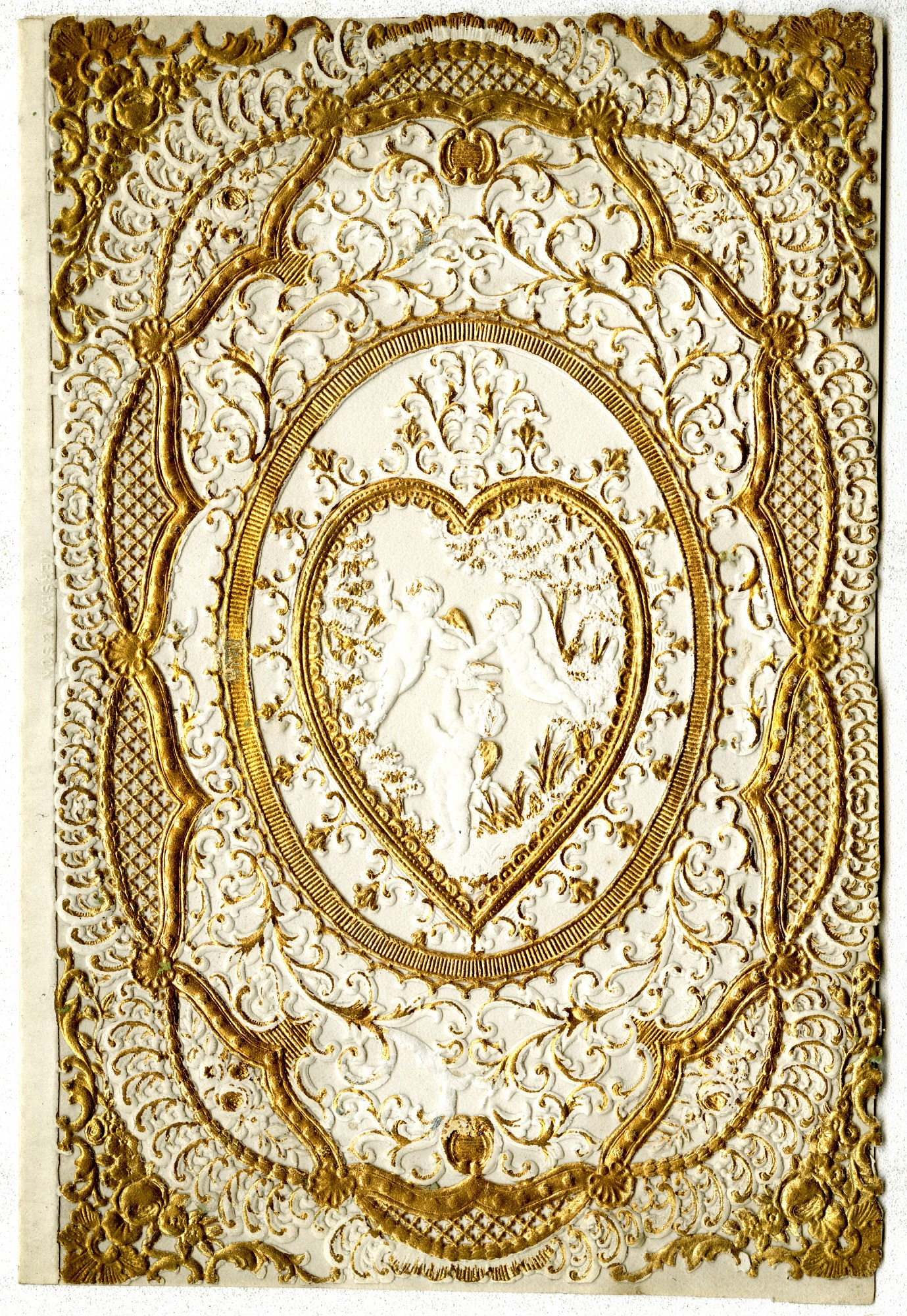 images for Cherubs with heart : Valentine card, ca. 1830-1880.