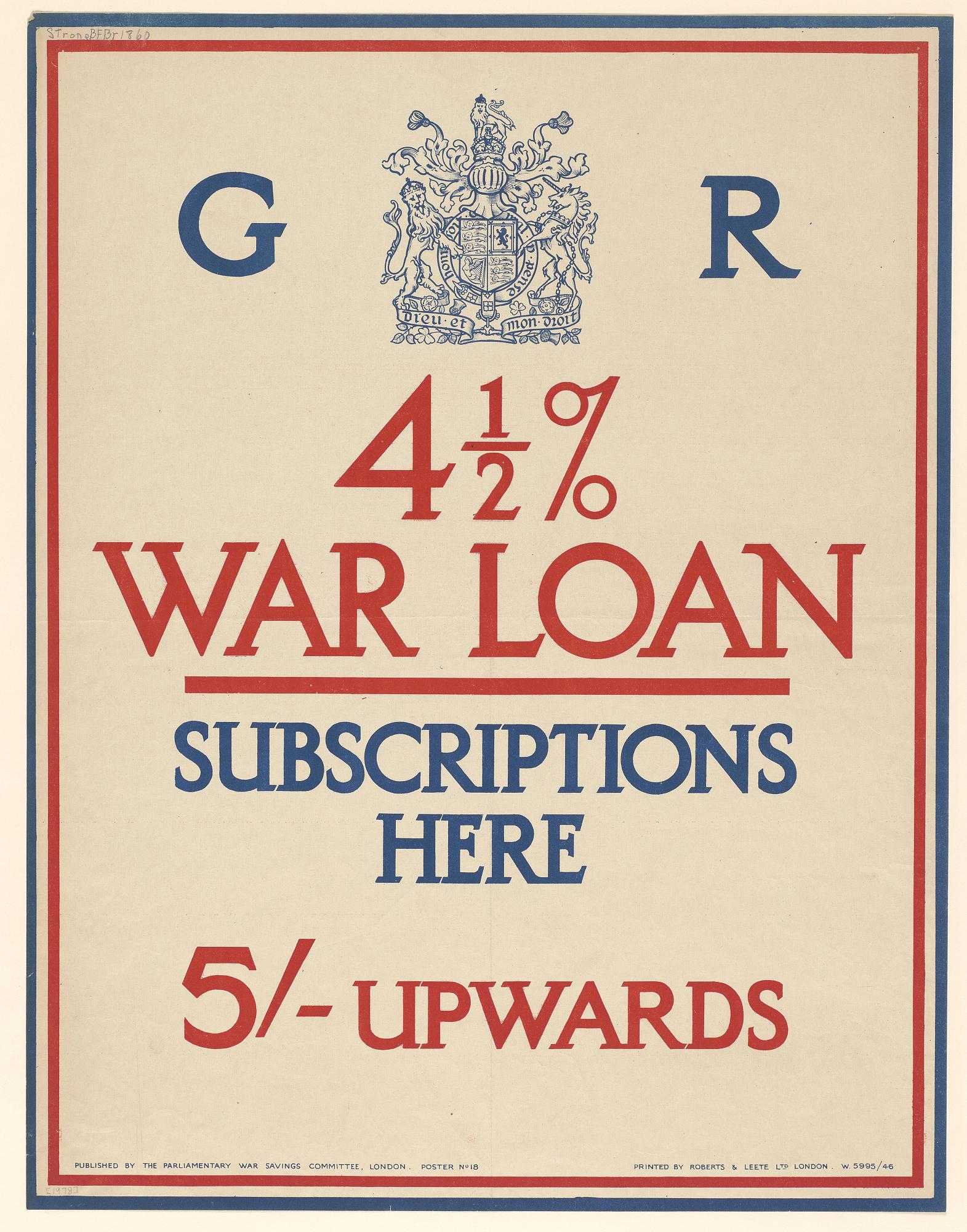 4 1/2% War Loan Subscriptions Here 5'- Upwards