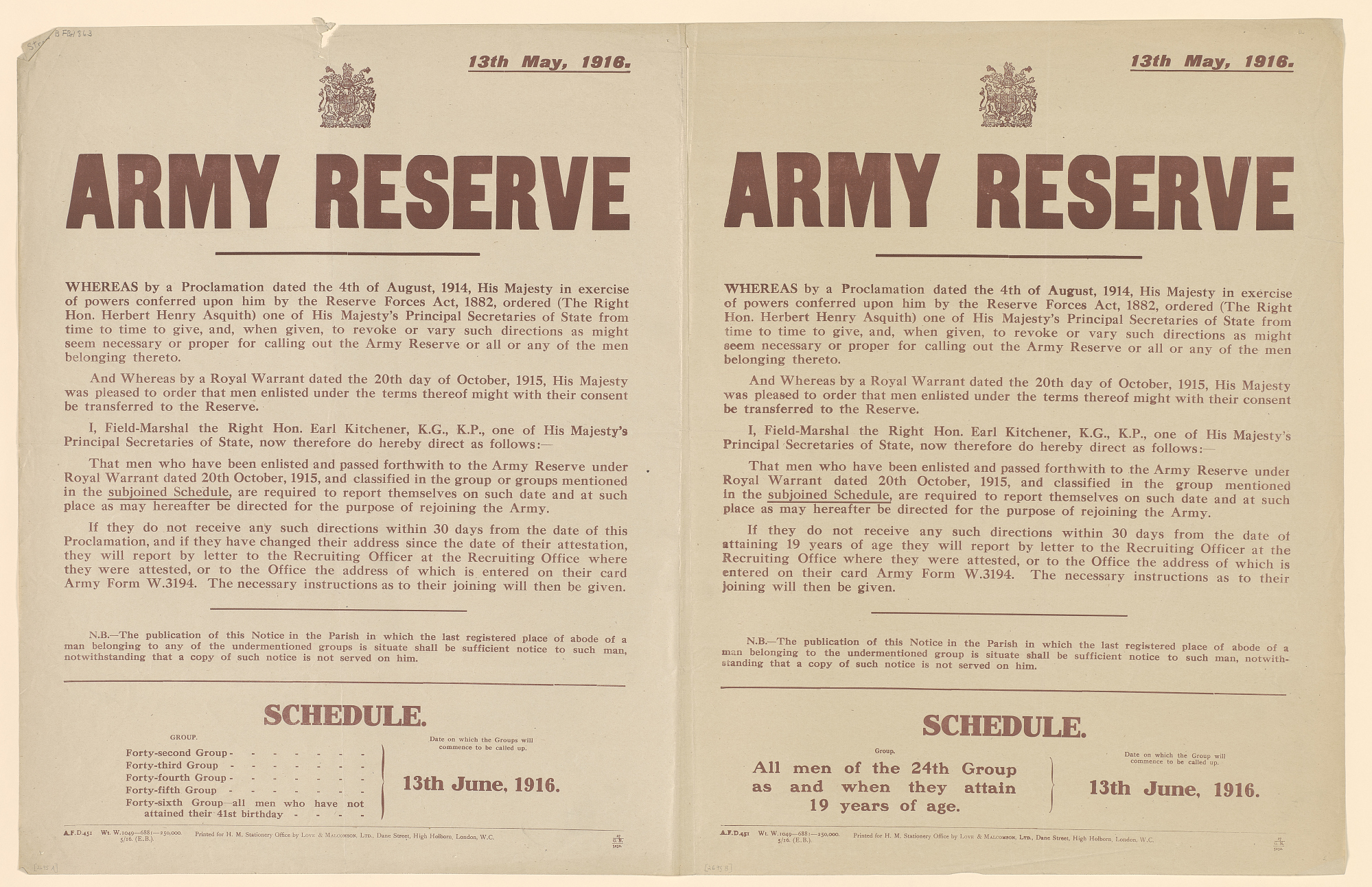 Army Reserve ... Required to Report Themselves on Such Date and at Such Place as May Hereafter Be Directed ... A: Schedule Forty-Second Group, Forty-Third Group ... B: Schedule All Men of the 24th Group as and When They Attain 19 Years of Age...