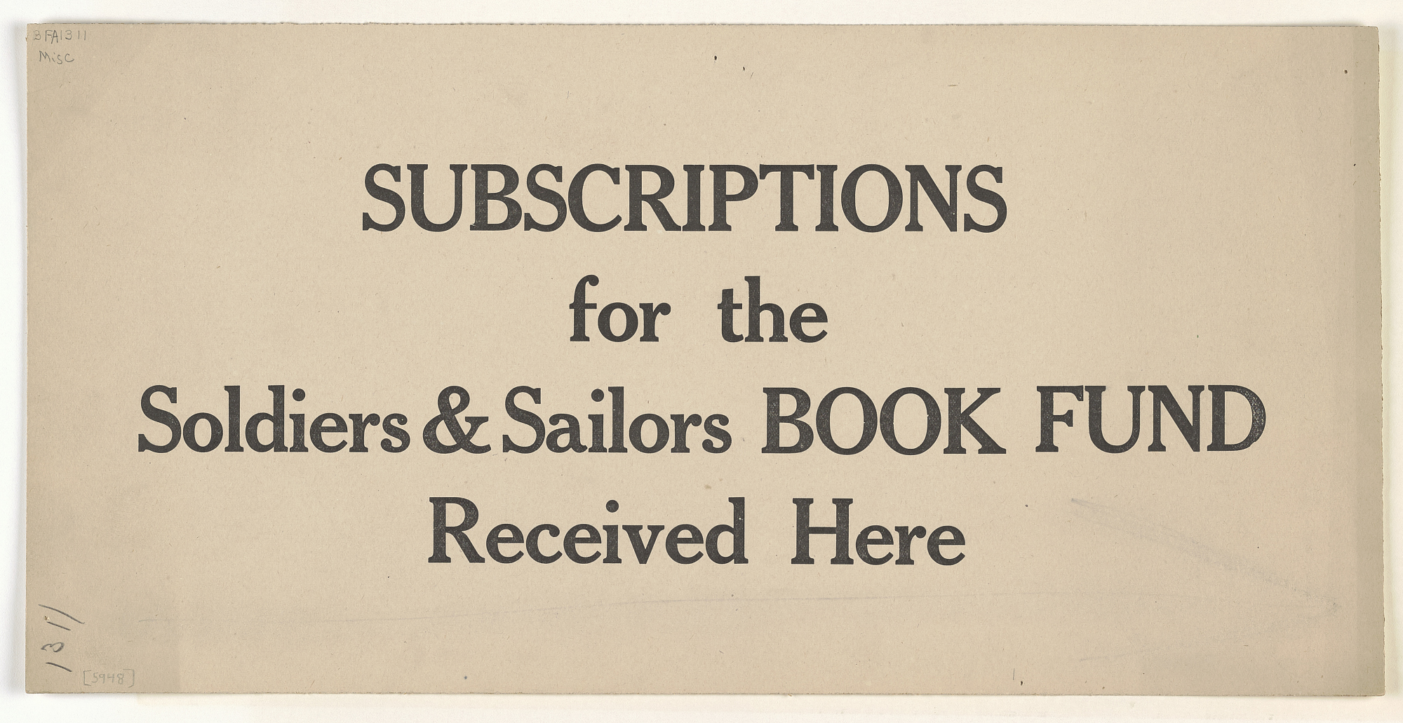 Subscriptions for the Soldiers & Sailors Book Fund Received Here. Princeton University Library.