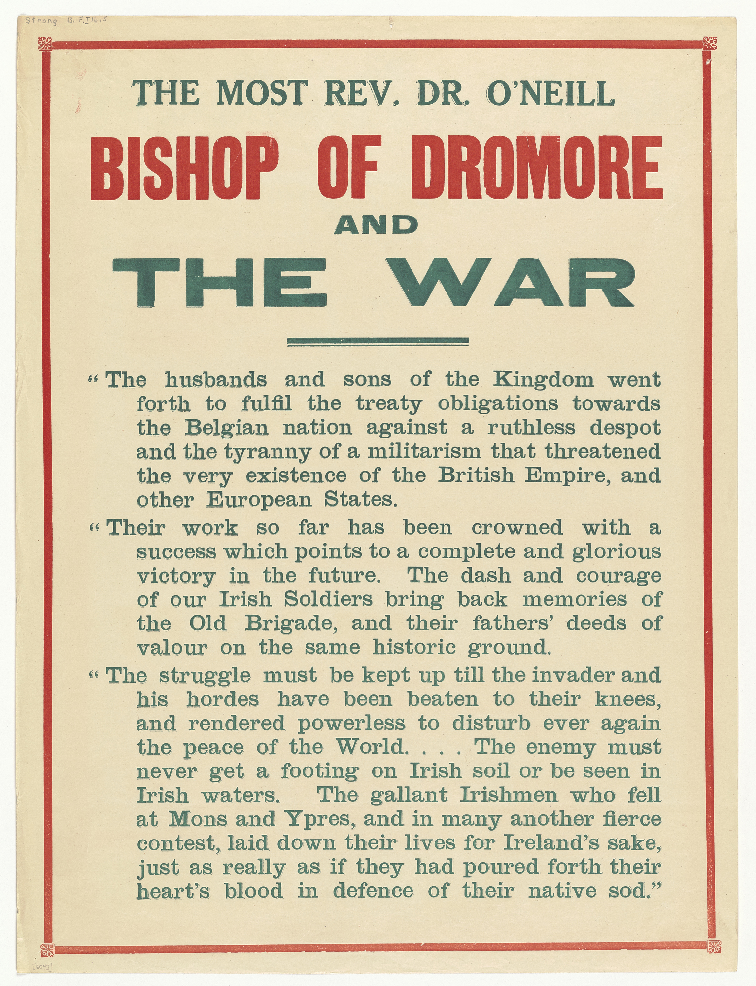 The Most Rev. Dr. O'Neill Bishop of Dromore and the War...
