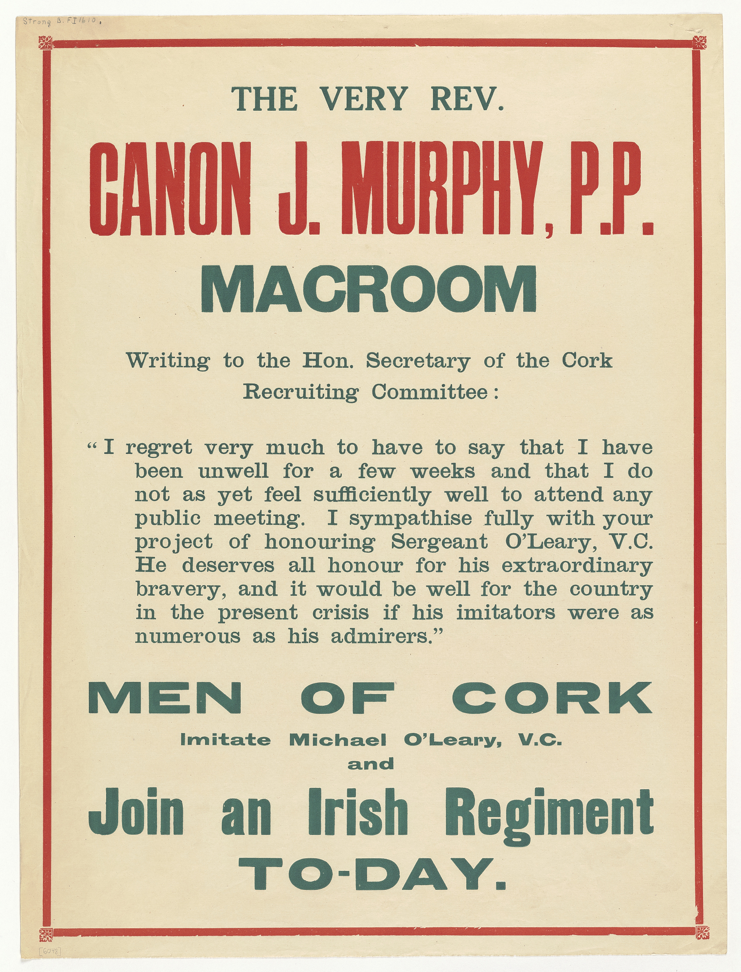 The Very Rev. Canon J. Murphy, P.P. Macroom ... Men of Cork Imitate Michael O'leary, V.C. And Join an Irish Regiment To-Day