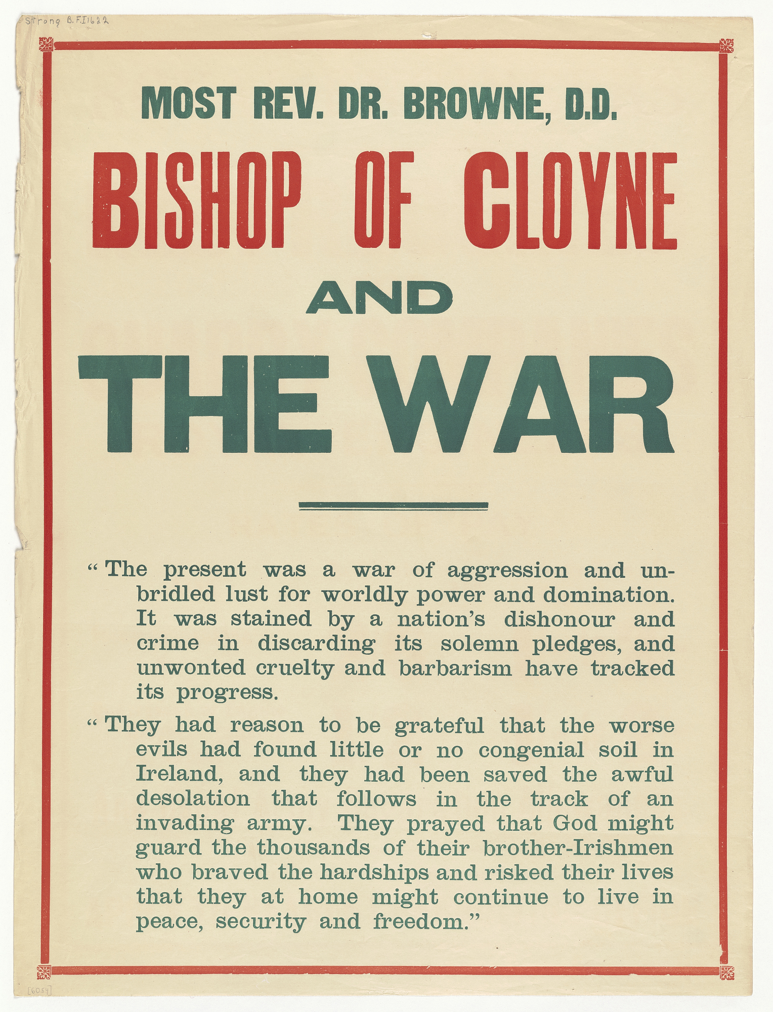 Most Rev. Dr. Browne, D.D. Bishop of Cloyne and the War...