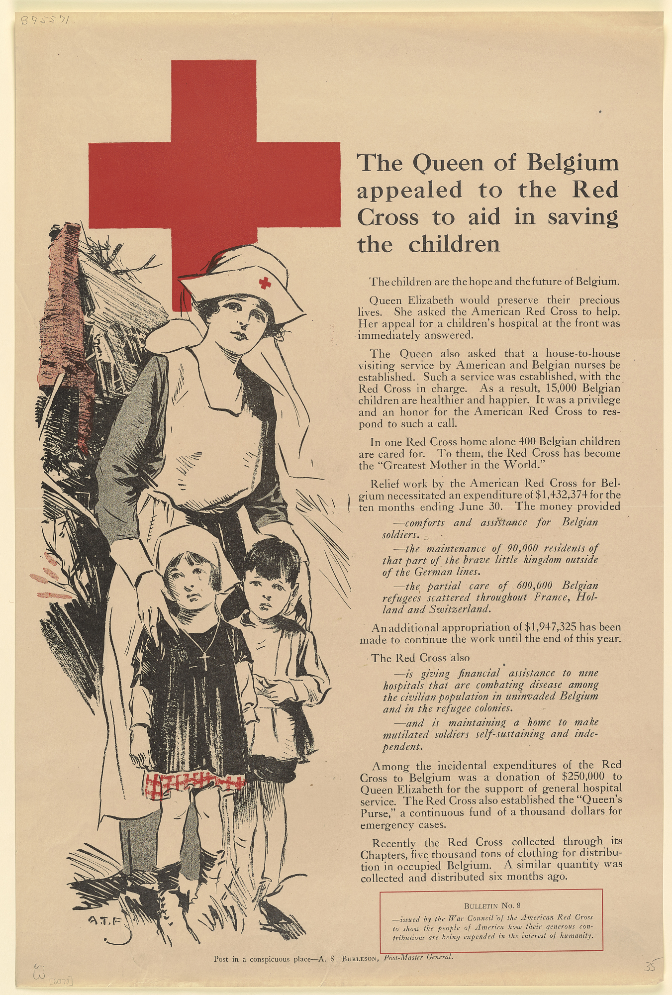 The Queen of Belgium Appealed to the Red Cross to Aid in Saving the Children ... American Red Cross.