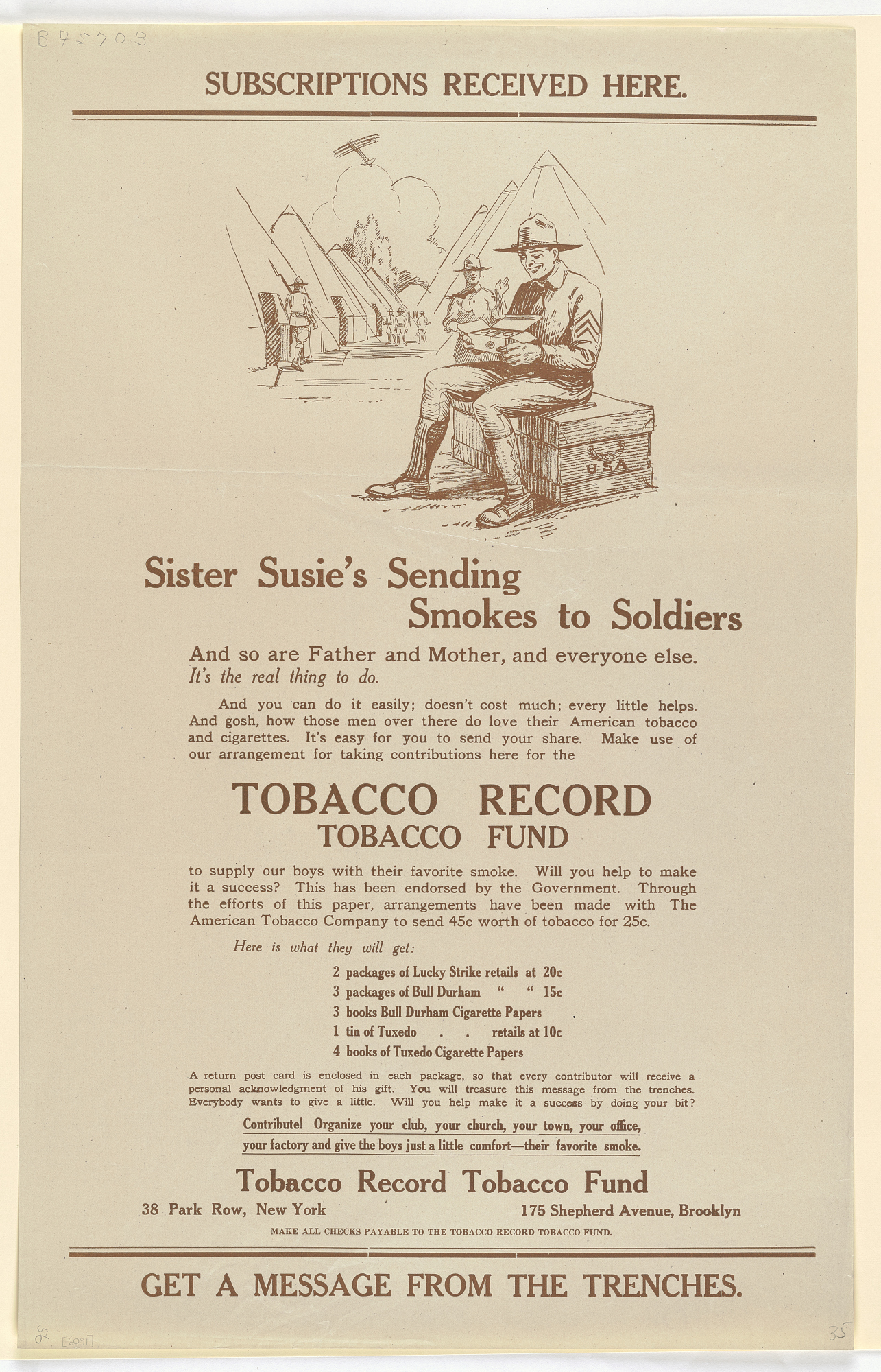 Subscriptions Received Here Sister Susie's Sending Smokes to Soldiers...