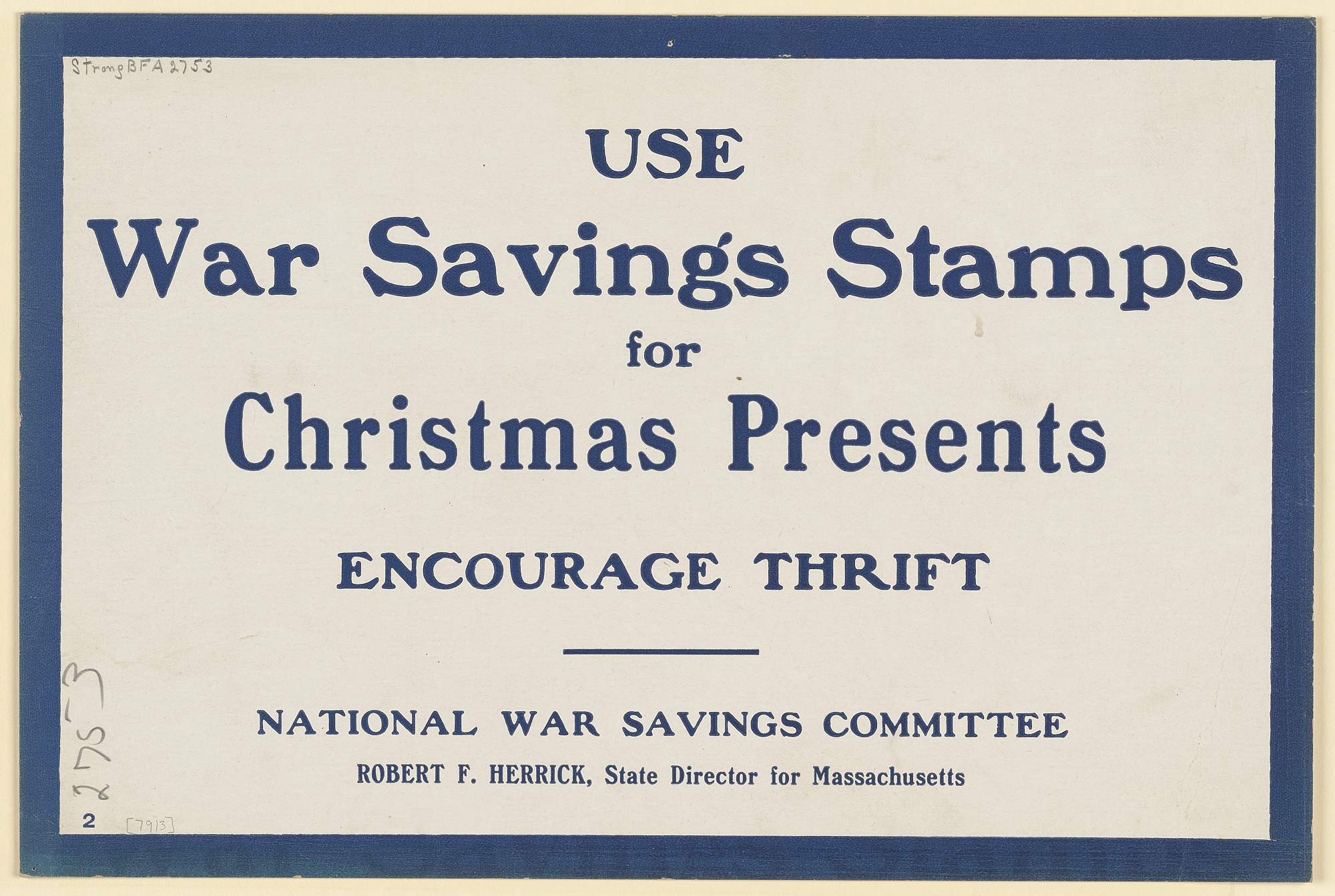 Use War Savings Stamps for Christmas Presents Encourage Thrift