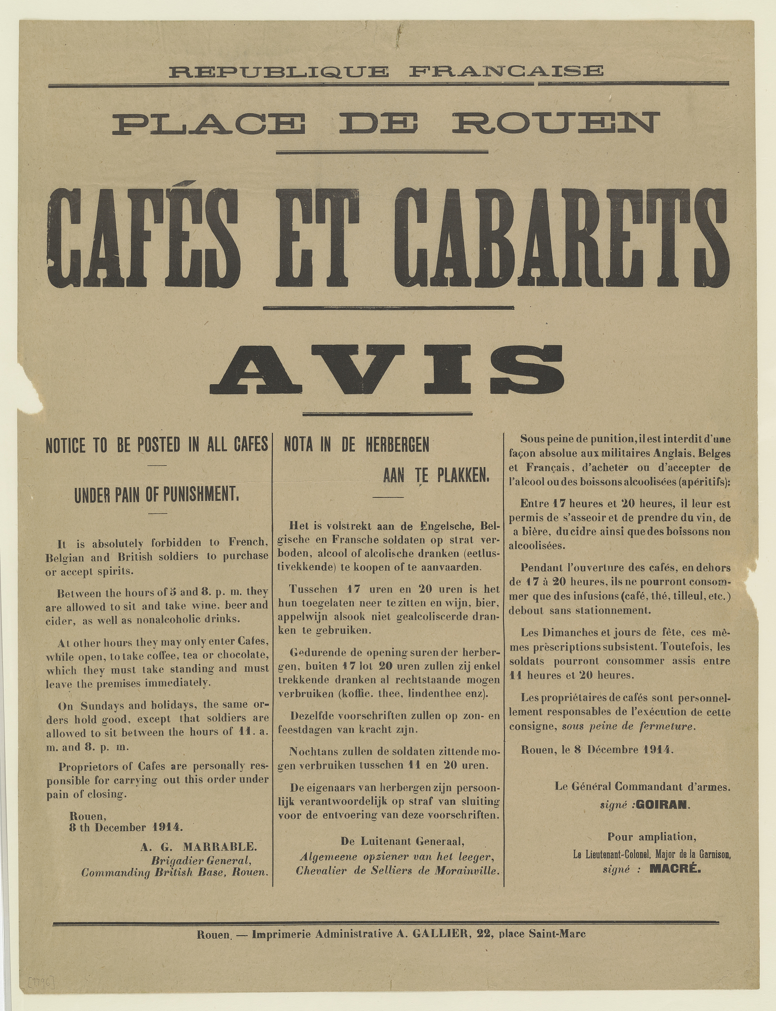 PLACE DE ROUEN CAFÉS ET CABARETS AVIS ... It is absolutely forbidden to French, Belgian and British soldiers to purchase or accept spirits...