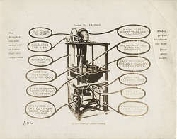 """""""A Mechanical Achievement"""" [sic: label beloiw image] [black-and-white photographic print]"""