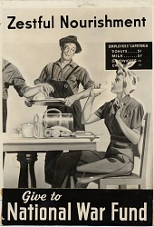 Zestful Nourishment / Give to National War Fund. [Defense workers eating doughnuts : black-and-white photoprint]