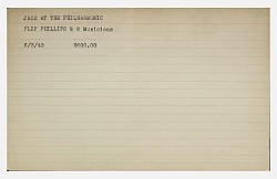 Program critique card for a Jazz at the Philharmonic performance of Flip Phillips and 6 musicians, 1949. [black type on an originally white card]