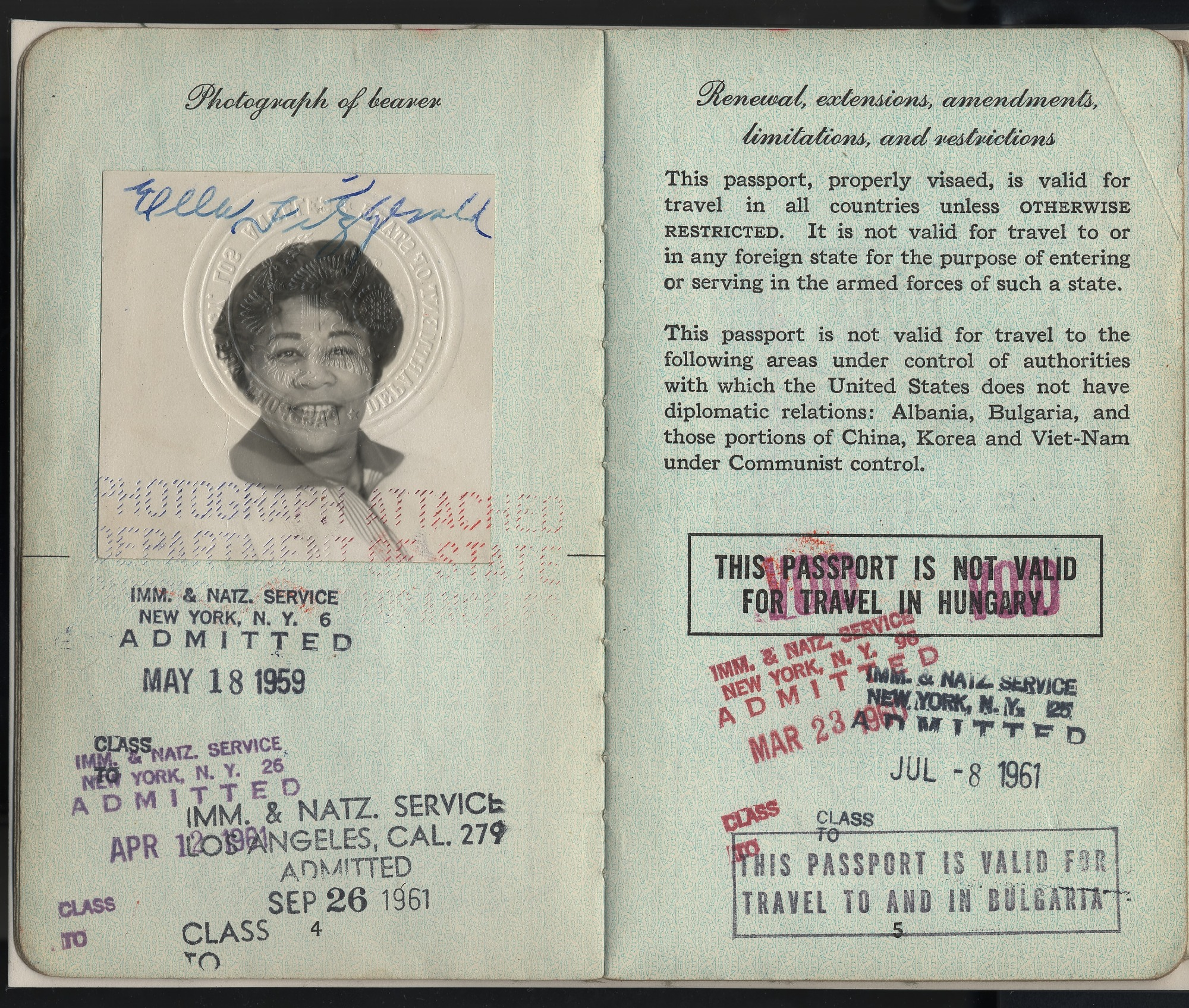 Image for Ella Fitzgerald's passport, with black-and-white photoprint