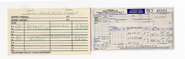 Image for Passenger ticket coupon for Ella Fitzgerald, issued January 14, 1959.