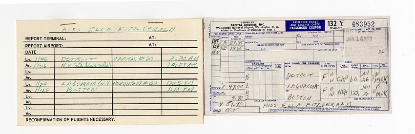 Passenger ticket coupon for Ella Fitzgerald, issued January 14, 1959.