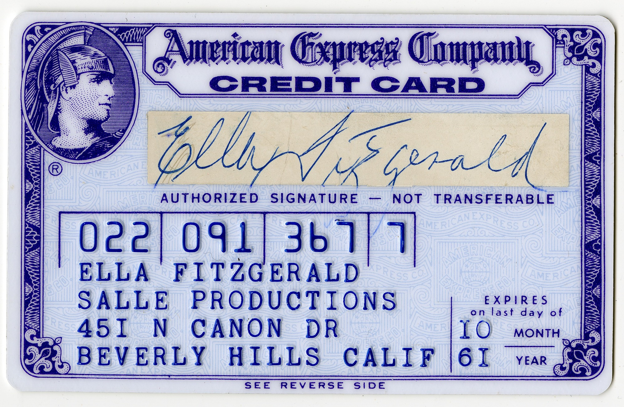 Image for Ella Fitzgerald's American Express Company credit card, expired October 1961.