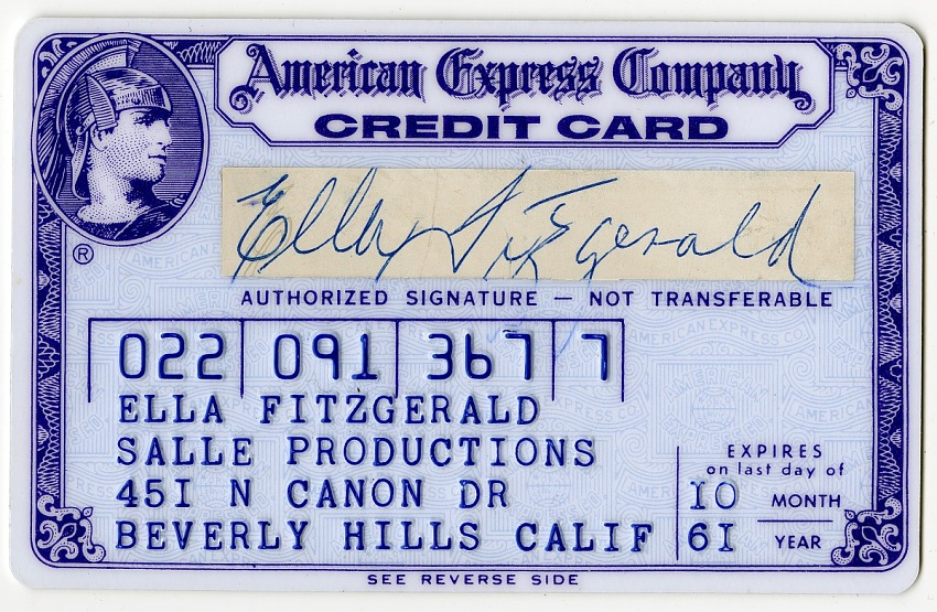 Ella Fitzgerald's American Express Company credit card, expired October 1961.
