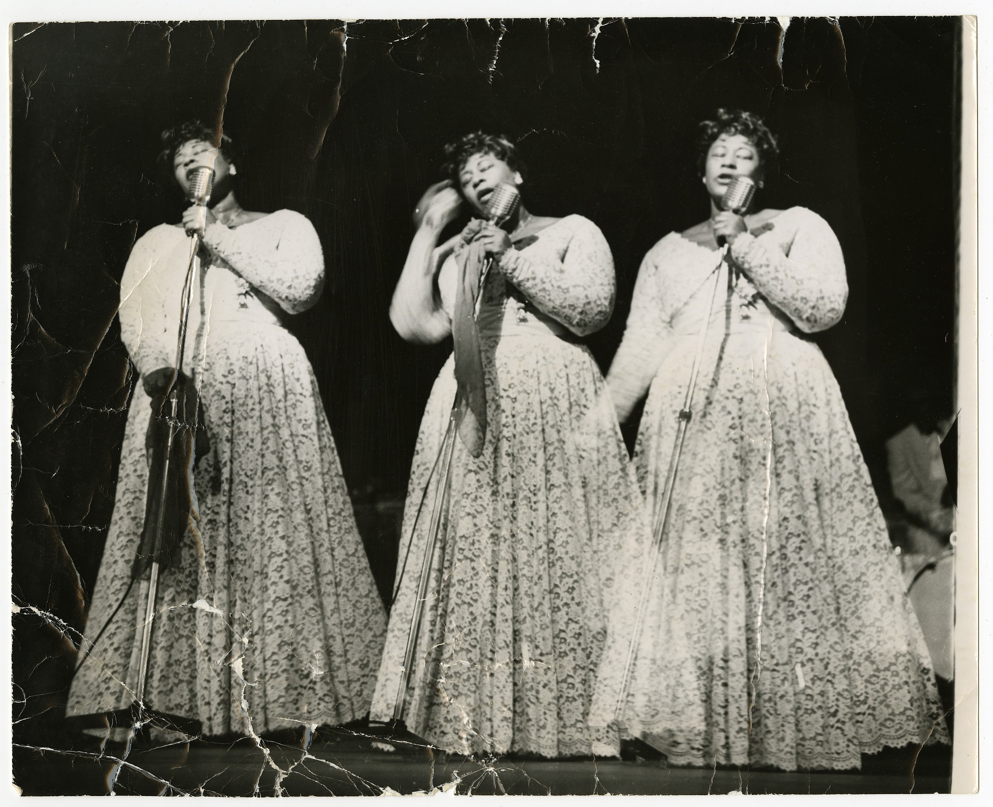 Image for Triple-image (triple-exposure) picture of Ella Fitzgerald in concert, undated. Black-and-white photoprint.