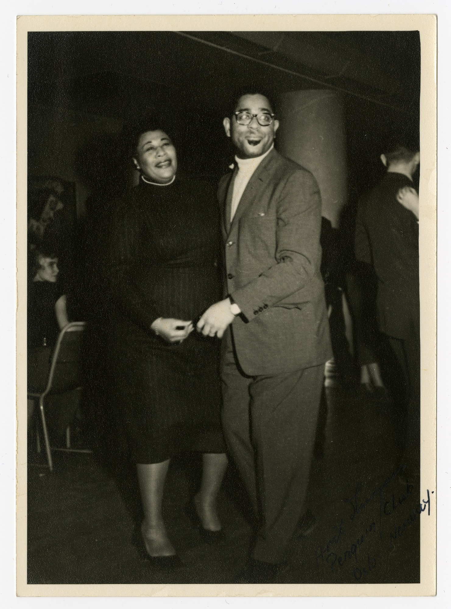 """Image for Ella Fitzgerald and Dizzy Gillespie at """"The Penguin Club,"""" Oslo, Norway, February 17, 1956. Black-and-white photoprint."""
