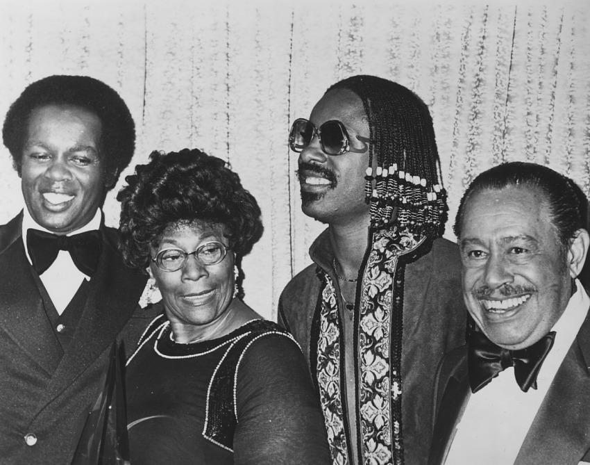 Ella Fitzgerald, Cab Calloway, Stevie Wonder, and Lou Rawls black-and-white photoprint.