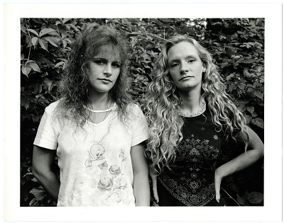 Sisters Angie Hummel and Missy Rudd by blackberry bush, Norton, Ohio [black-and-white photoprint], 2000