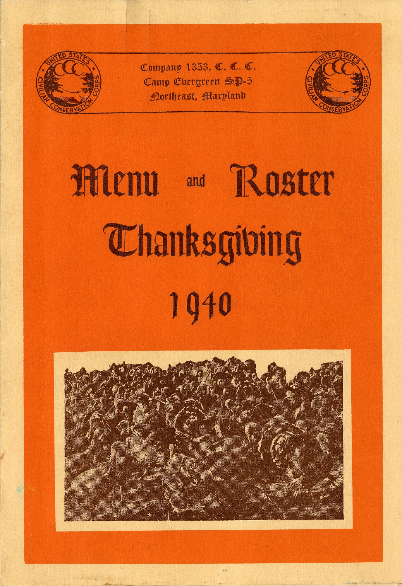 images for Thanksgiving menu and roster cover from Company 1353, Cam Evergreen SP-5, Northeast, Maryland, 1940