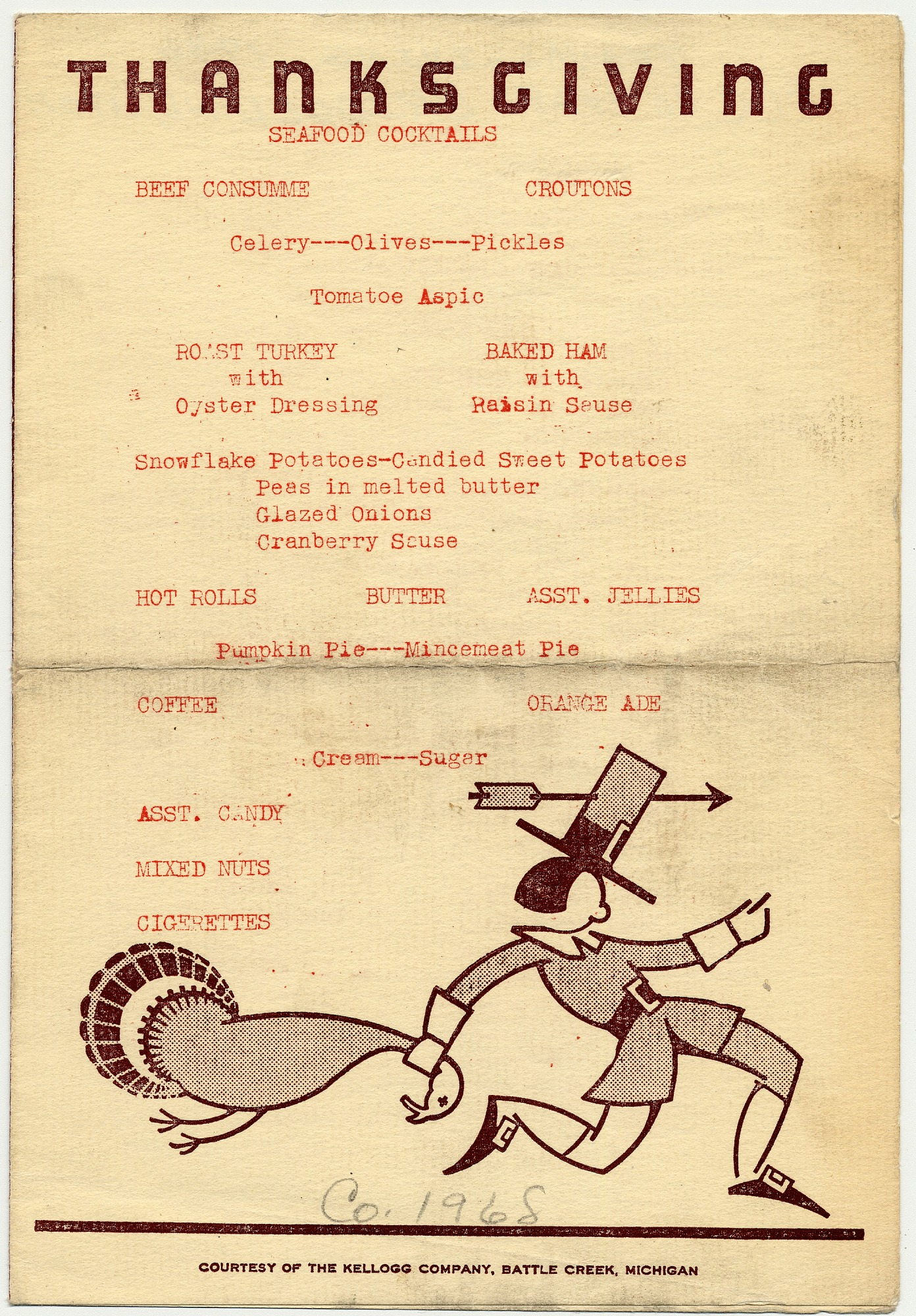 images for Thanksgiving menu, Company 1968