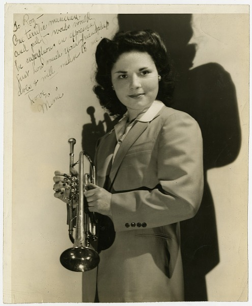 """Image for Mimi Polak, member of """"Sweethearts,"""" holding trumpet : black-and-white photoprint"""