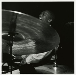 "Art Blakey at his January 24, 1962 session for ""The American Beat"" at the Van Gelder Studio, New Jersey [black-and-white photoprint]"
