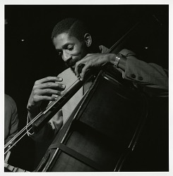 "Ron Carter at Sam Rivers's May 21, 1965 session for ""Contours"" (Blue Note) at the Van Gelder studio, New Jersey [black-and-white photoprint]"