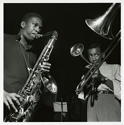 "John Coltrane and Lee Morgan at Coltrane's September 15, 1957 session for ""Blue Train"" (Blue Note) at the Van Gelder studio, New Jersey [black-and-white photoprint]"