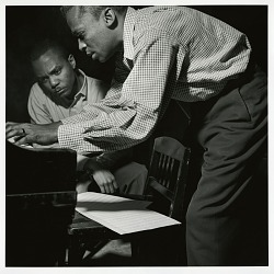 "J.J. Johnson and Miles Davis at Davis's session of April 20, 1953 for ""The Miles Davis All-Stars"" (Blue Note) at WOR Studios, New York City [black-and-white photoprint]"