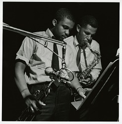 "Dexter Gordon and Freddie Hubbard at Gordon's May 6, 1961 session for ""Doin' All Right"" (Blue Note) at the Van Gelder Studio, New Jersey [black-and-white photoprint]"